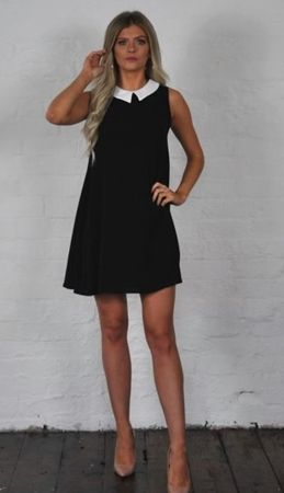 WAGW Cara black babydoll peter pan collar mini dress