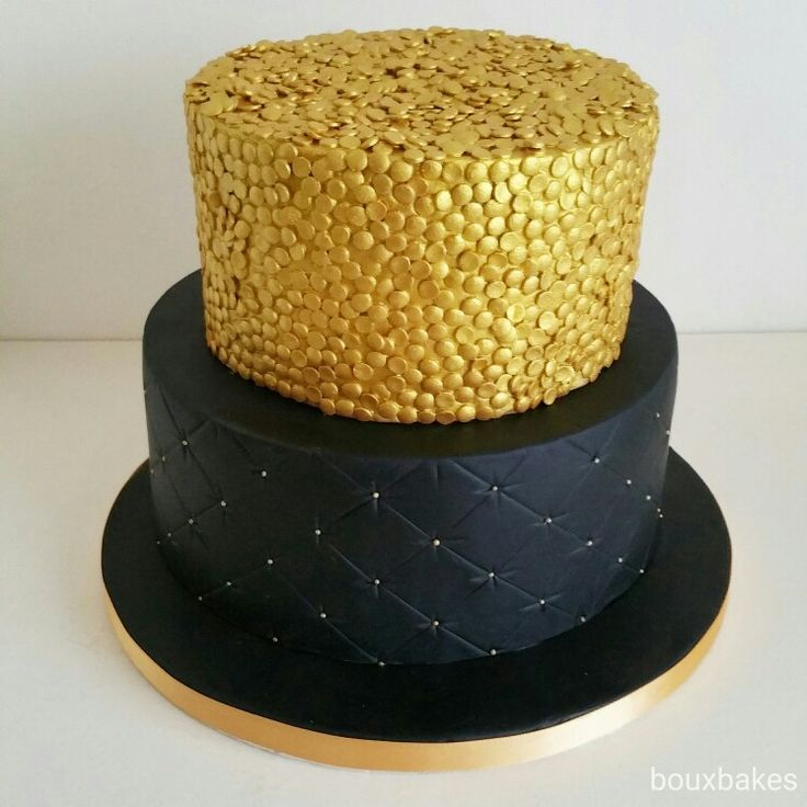 Black and Gold 2 tiered cake
