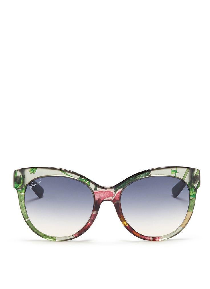 Gucci Flora Silk Inlay Cat Eye Optyl Sunglasses Lane