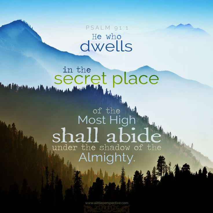 He who dwells in the secret place of the Most High shall abide under the shadow of the Almighty.Psa 91:1 <3