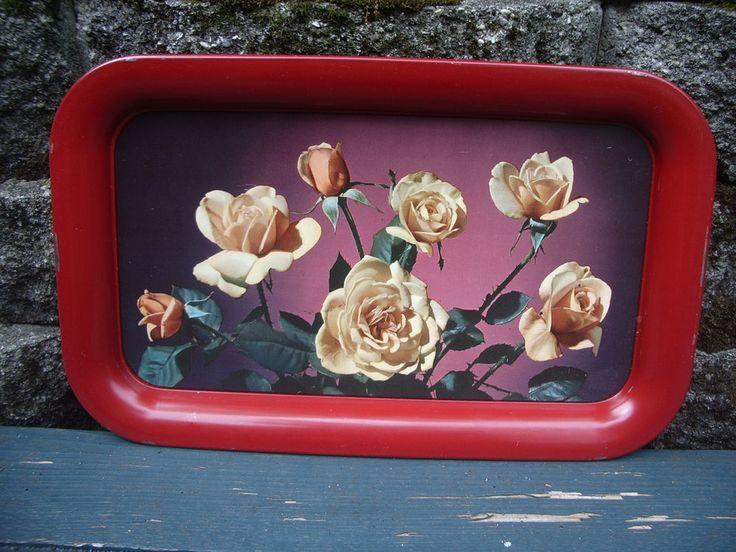 VTG Tin TV Tray Lot/6 Platter Red Border Photograph Yellow Roses Picnic RV Party