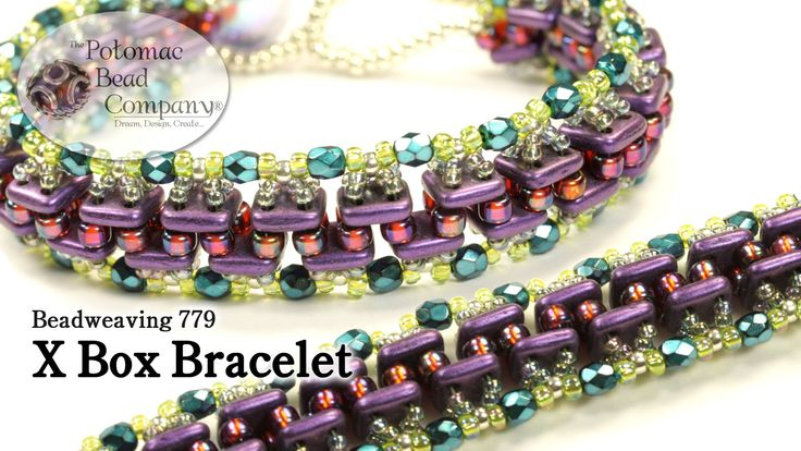 """This video tutorial from The Potomac Bead Company teaches you how to make Potomac Bead Company beadwork artist Allie Buchman's design of the """"X Box Bracelet...."""