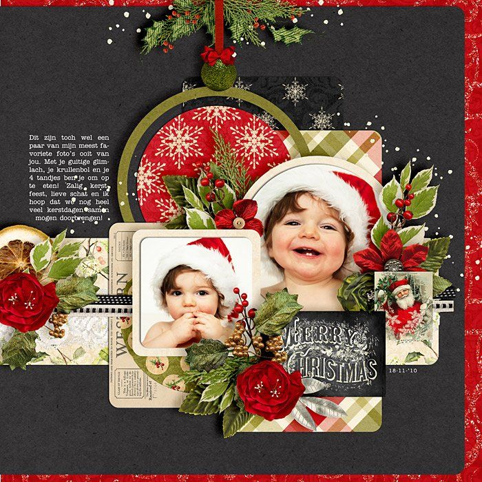 Christmas Scrapbook Page - love the black background: striking and unexpected.