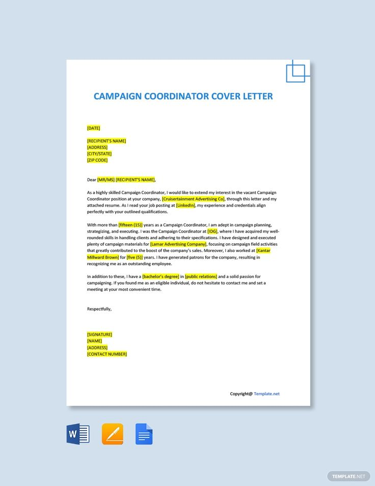 Free campaign coordinator cover letter template word
