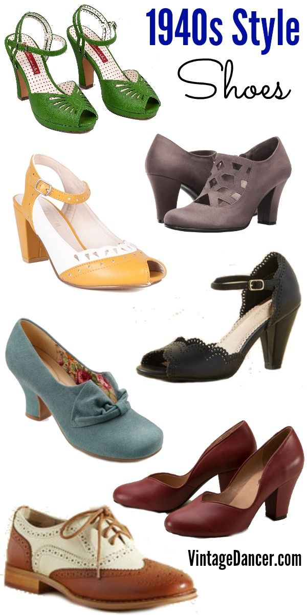 1940s shoes, 1940s style shoes, forties shoes, vintage inspired shoes at VintageDancer.com