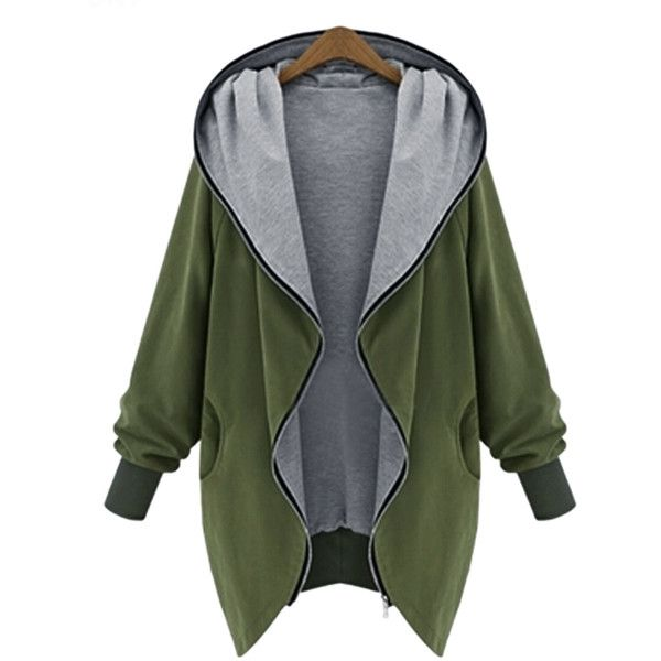 Choies Military Green Hooded Neck Long Sleeve Parka Coat ($53) ❤ liked on Polyvore featuring outerwear, coats, jackets, tops, green, green parka, long sleeve coat, green coat, green parka coat and parka coats