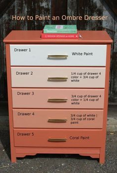 DIY Furniture : DIY Paint an Ombre Dresser-This could be used in different…