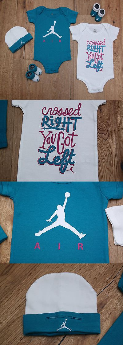Outfits and Sets 147211: Air Jordan Baby Girl 5 Piece Hat, Bodysuit And Booties Set ~ Teal, Pink And White ~ -> BUY IT NOW ONLY: $31.47 on eBay!