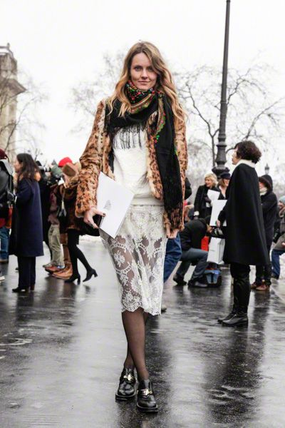 lace skirt + chunky loafers in paris