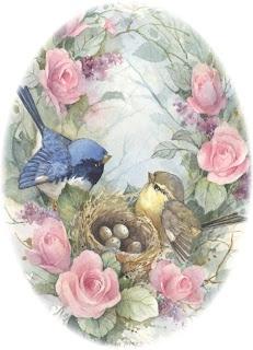 Oval canvas w/Birdie  MI BAUL DEL DECOUPAGE: PÁJAROS