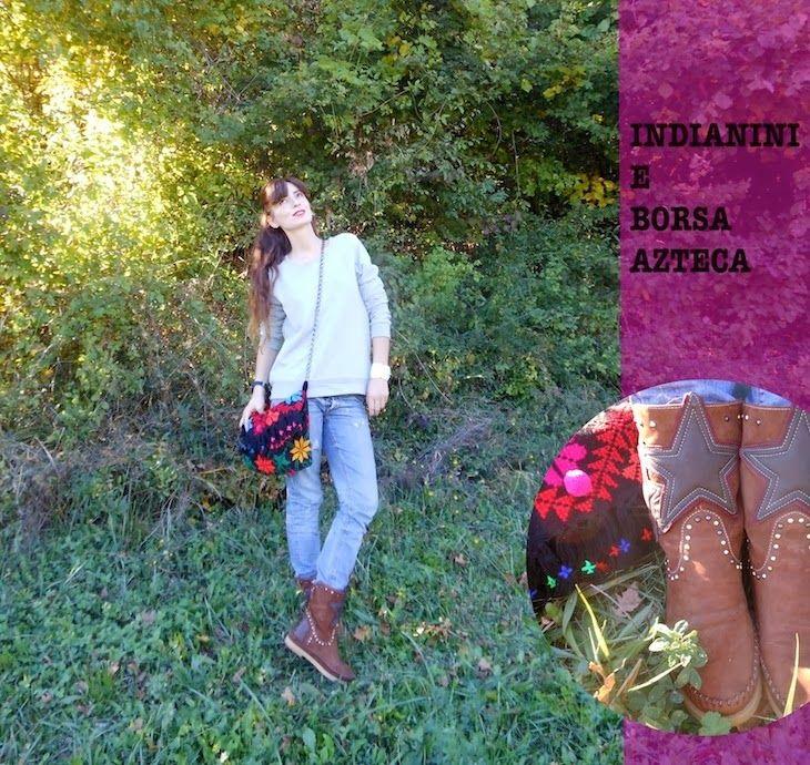 #shoes #boots #etnochic #fashionblog #fashion #girl #sporty #sweater #accessories #atzectrend  dea outfit indianini e borsa azteca, karma of charme, amanda marzolini the fashionamy, fashion blogger stilista sporty, fashion blog made i...