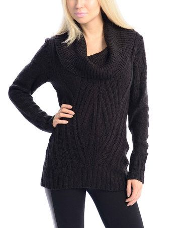 Another great find on #zulily! Black Cowl Neck Sweater #zulilyfinds