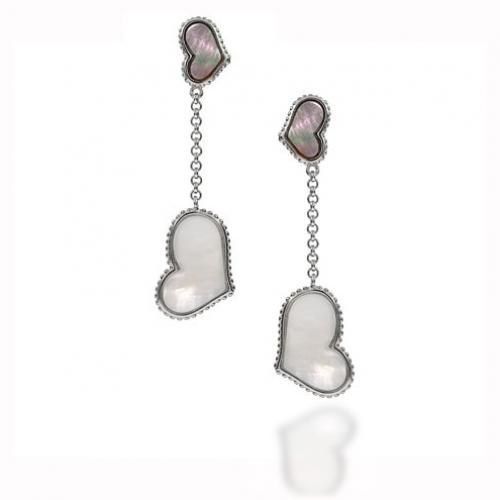 NY Inspired Sterling Silver Mother of Pearl Heart Dangling Earrings