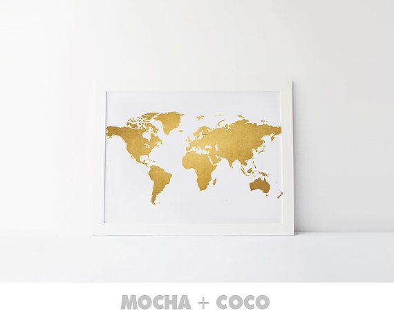 Gold World Map Poster | Travel Print, Office Decor, Travel Art, Kids Room, Nursery, Printable Mocha + Coco, INSTANT FILE DOWNLOAD