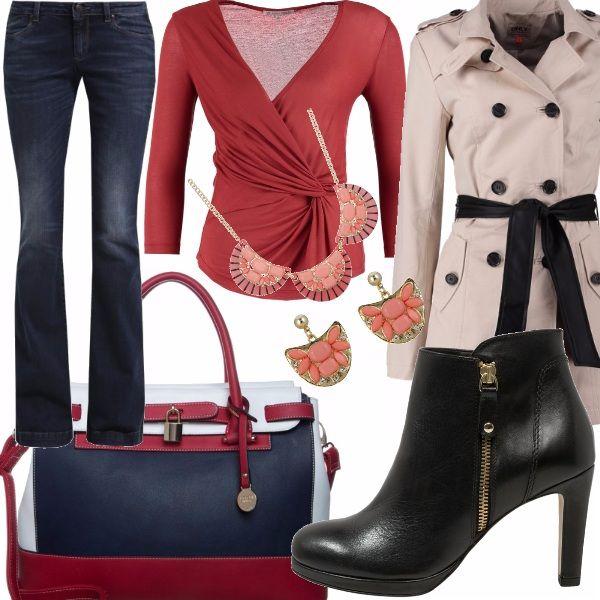 """Per una serata primaverile non troppo formale, il jeans Sisley con la camicetta rossa ad incrocio è l'ideale;  con i jeans a gamba larga, inoltre, ben si sposano gli stivaletti, davvero """"rock"""" con la cerniera a vit!"""