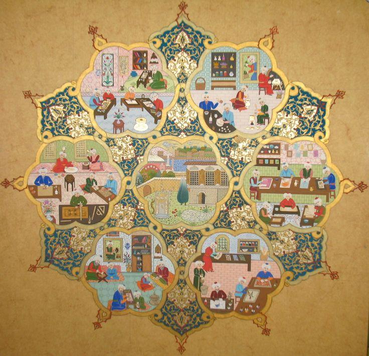 """Eserin Adı: """"Eski Nakkaşhane Düzeni"""" - Yüksek Lisans Tez Uygulama Çalışması Tür: Minyatür Teknik: murakka üzerine guaj ve yağlı boya  Yıl: 2009"""