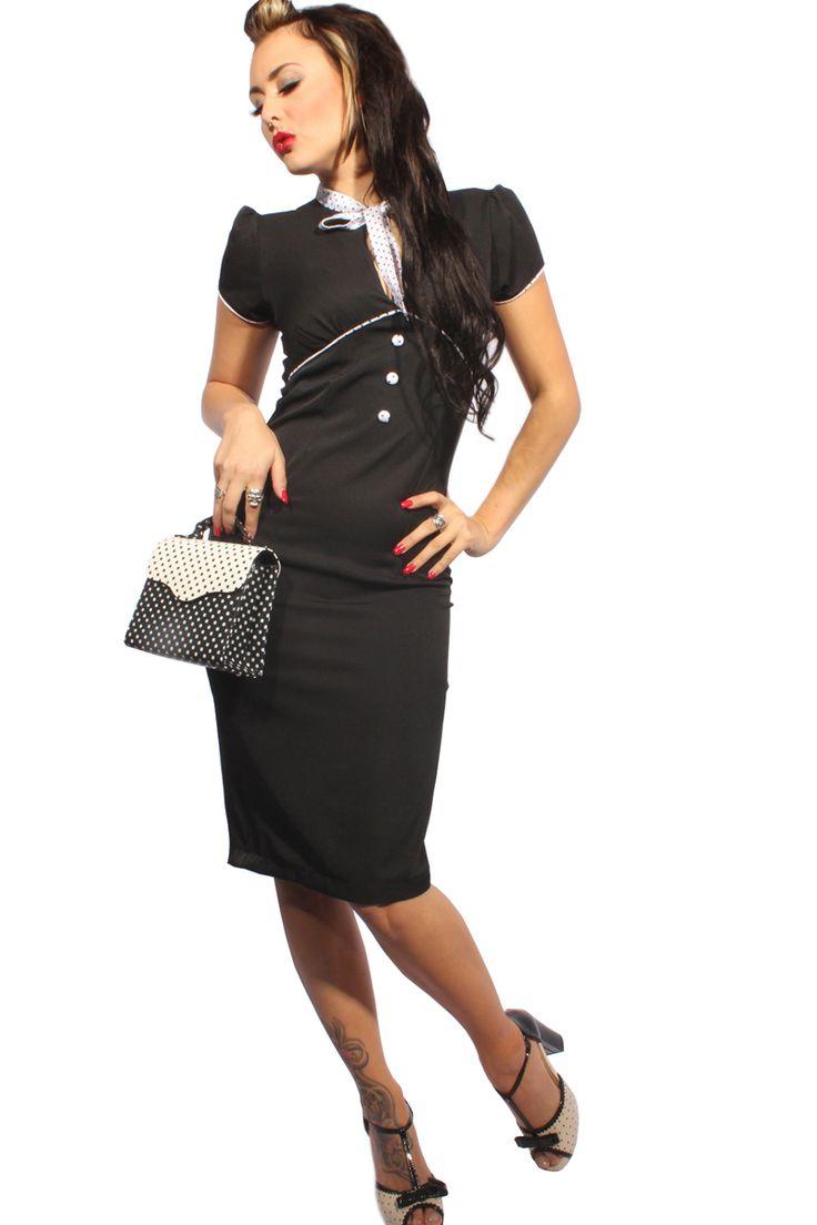 Figurbetontes 50er-Jahre-Kleid mit Bleistift-Rockteil & Puffarmen. Der ausgefallene Ausschnitt mit gerafftem Brustbereich sowie der großzügige Rückenausschnitt machen diesen Klassiker zu einem Hingucker! Die Paspeln, dezente Zierknöpfe & die Schleife am Rundhals  setzen durch das gepunktete Design einen tollen Akzent. Ein Gehschlitz, Reißverschluss hinten & das stretchige Material sorgen für angenehmen Tragekomfort. Im Nacken mit 2 Knöpfen zu schließen. Fällt etwas groß aus.  www.goinsane.de