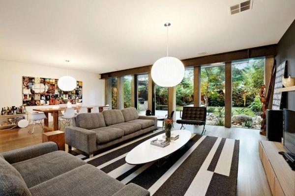 Wohnzimmer Designer Möbel Teppich-grafisch Muster-Wand ...