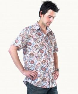 Cotton Coral Paisley Shirt $59.00 fair trade men's fashion