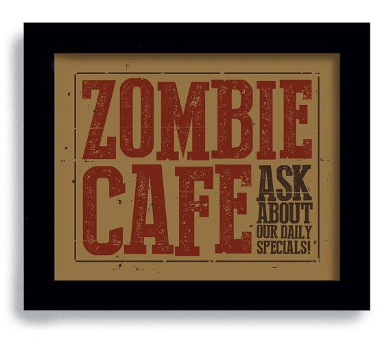 Zombie Art Kitchen Art Gift Cooking Sign Retro Art Diner Sign on Etsy, $18.00
