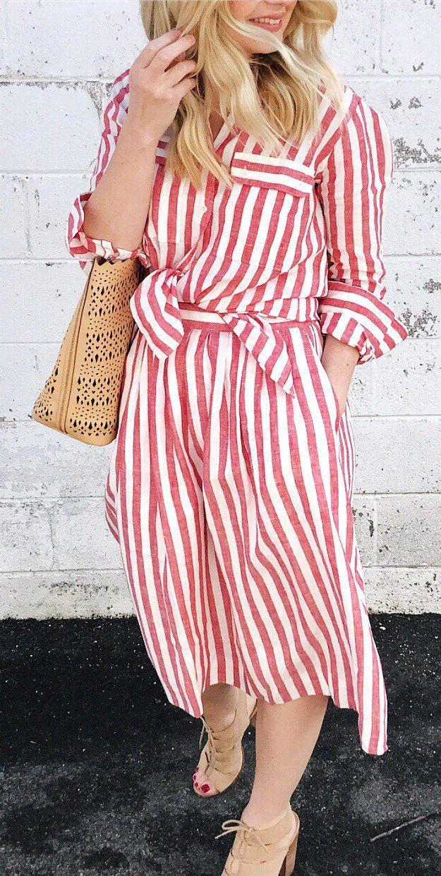 #spring #fashion  Red Striped Dress & Camel Tote Bag