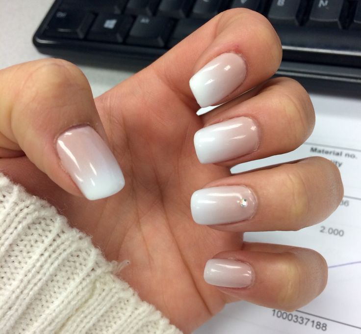 cool French fade white tip gel nails with gem...