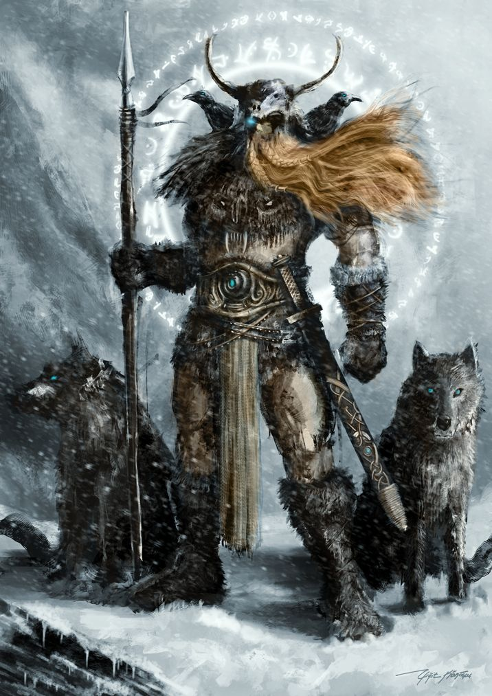"""Odin with Geri and Freki (both meaning """"the ravenous"""" or """"greedy one"""")"""