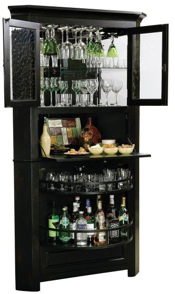 Our Corner Bar Cabinet offers luxury space saving. This distressed wine & bar cabinet fits right into your corner space. Lots of storage for spirits & more!