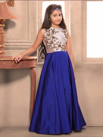 Designer Blue Readymade Kids Gown Online ,Indian Dresses