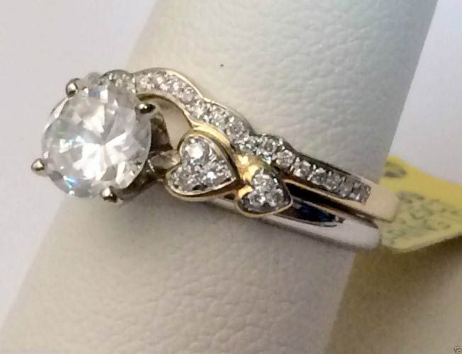 14kt Yellow Gold Diamonds Heart Solitaire Wrap Ring Guard Enhancer Jacket Hearts (0.25ct. tw) by RG&D