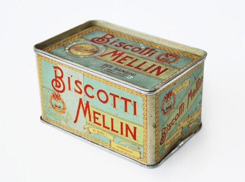 Scatola in latta di biscotti Mellin