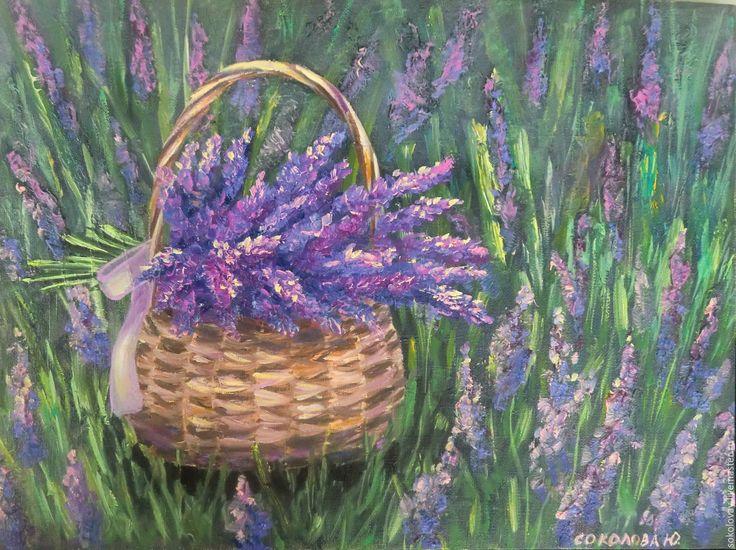 Купить Картина маслом Лаванда в корзине. - сиреневый, лаванда, лавандин, картина, картина в подарок