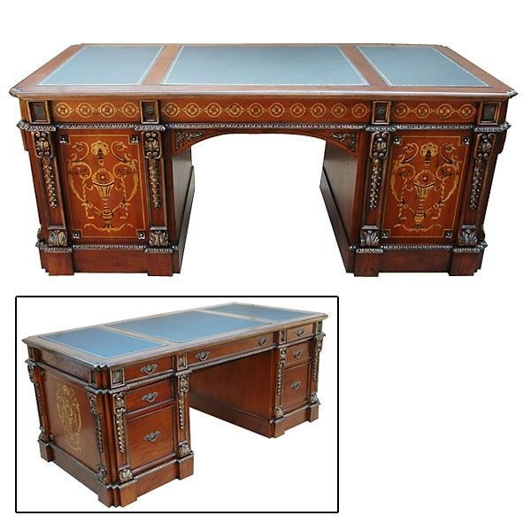 Impressive Mahogany Office Desk with its rich merlot cherry finish and expertly appointed details oxmoor makes a most impressive office desk Executive Desk Solid Mahogany Leather Top Inlaid Hand Carved New