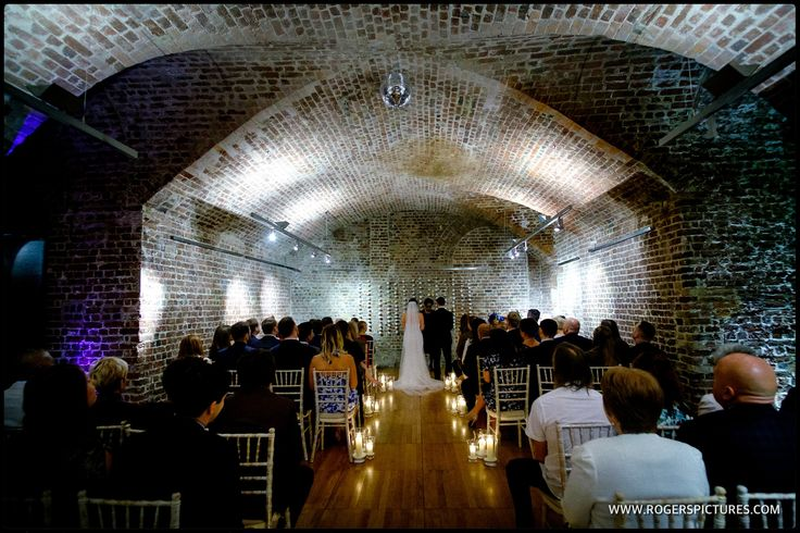 Stephanie and Lee's wedding ceremony in The Vaults, RSA House, a dark but atmospheric venue. More photos here -