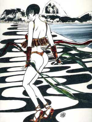 Valentina desenhada no calçadão da Praia de Copacabana (Foto: Divulgação)
