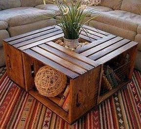 Wooden crates turned into a coffee table. I wonder if we can buy these in Australia?