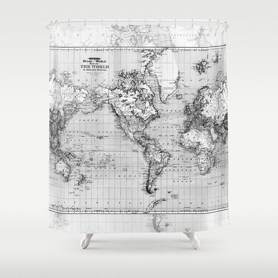 Black And Gray World Map Shower Curtain Fabric Bathroom Fabric Shower Curtains Curtains Curtain Fabric