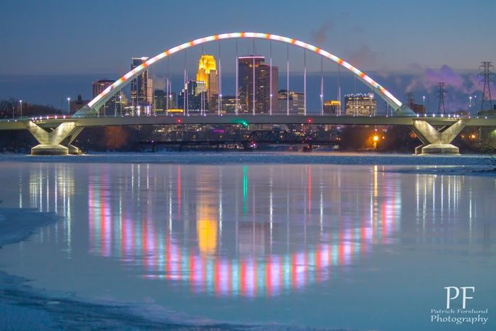 Candy Cane Bridge by Patrick Forslund on Capture Minnesota // The Lowry Ave Bridge over the Mississippi with it's festive Christmas Lighting.  Merry Christmas at 0 degrees Fahrenheit!
