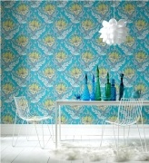 Temple Tulips - Blue & Green    Wallpaper 52cm x 10m per roll    Paste the wall.  Please make sure you follow manufactures instructions when hanging wallpaper