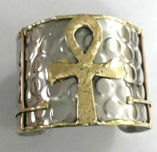 Egyptian Queen Ankh Silver Amp Gold Cuff Bracelet