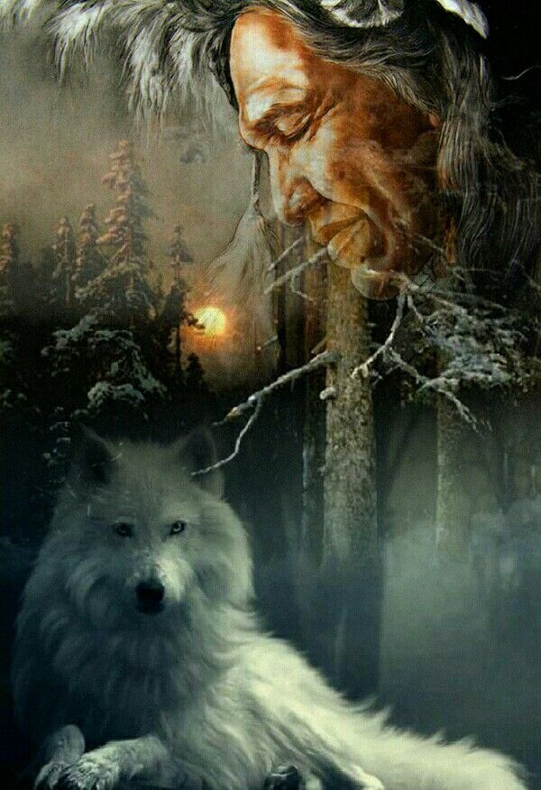 Native american wolf artwork