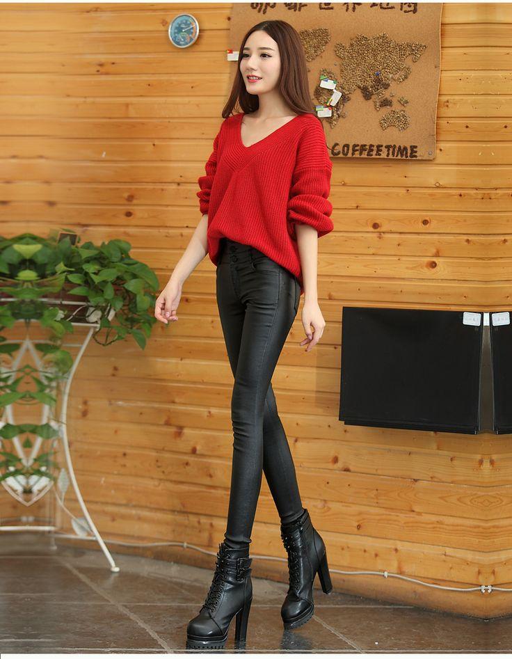 2016 Сгущает Зимний PU Кожаные женские брюки высокая талия упругие руно стретч Тонкий женщины карандаш брюки узкие брюки CK11 купить на AliExpress