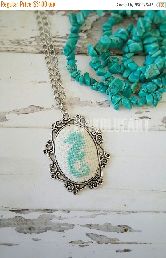 40% OFF Mint Blue Seahorse Cross Stitch Necklace Embroidered Necklace Cross Stitch Jewelry xstitch necklace Pendant Necklace (18.60 USD) by PINKBLUEART