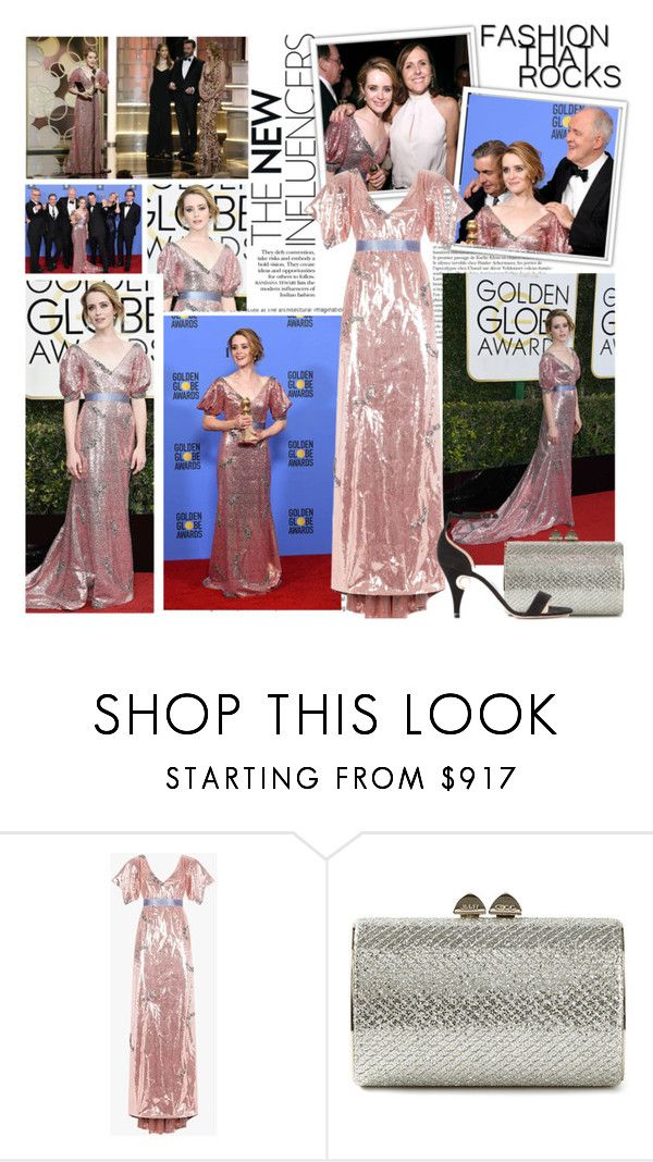 """""""2017 Golden Globe Awards~ Claire Foy"""" by snugget9530 ❤ liked on Polyvore featuring Oris, Jimmy Choo and Nicholas Kirkwood"""