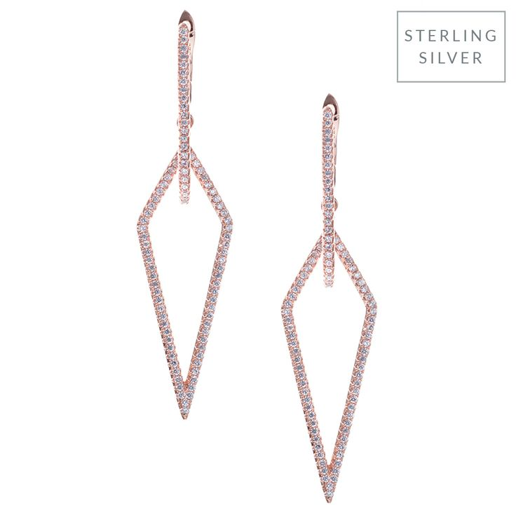 These rose gold earrings have a cool, continuous shape and are dotted with pave crystals. Wear them day or night to add high impact to your look.