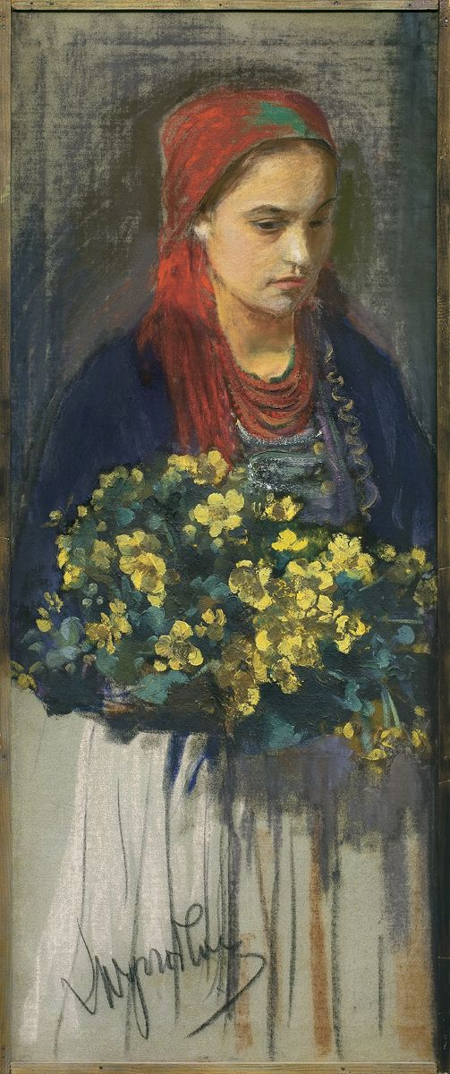 Leon Wyczółkowski: Dziewczyna z kaczeńcami, ok. 1900 r., pastel, olej, płótno naklejone na sklejkę, 93,3 x 30,9 cm