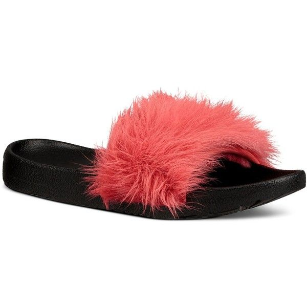 Ugg Royale Shearling Pool Slide Sandals ($80) ❤ liked on Polyvore featuring shoes, sandals, ribbon red, shearling sandals, ugg shoes, ribbon sandals, ugg footwear and rubber sole shoes