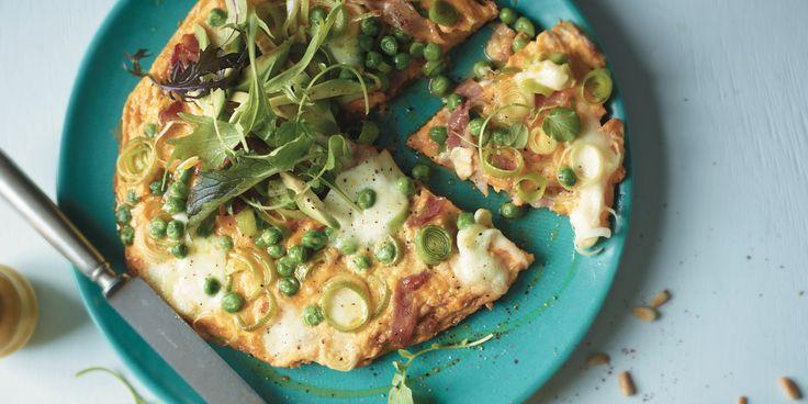 Bacon, Leek + Pea Frittata via @iquitsugar