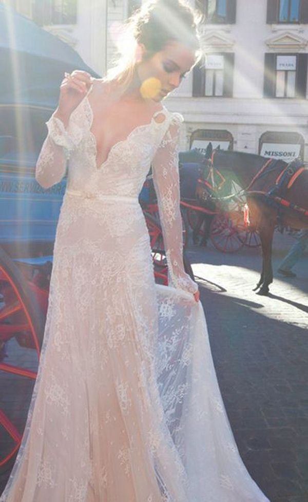 Long sleeve lace Inbal Dror wedding dress | The Wedding Scoop Spotlight: Sexy Wedding Dresses http://www.theweddingscoop.com/entry/the-wedding-scoop-spotlight-sexy-wedding-dresses