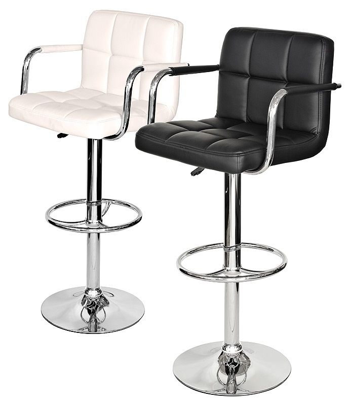 FW889 Coco Padded Bar Stools with Arms. Available in black or ivory.